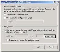 IE LAN Settings