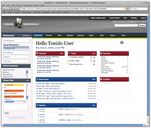 Tonido Workspace Main Screen