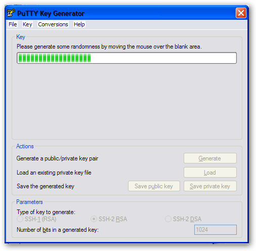 RSA key generation by Puttygen