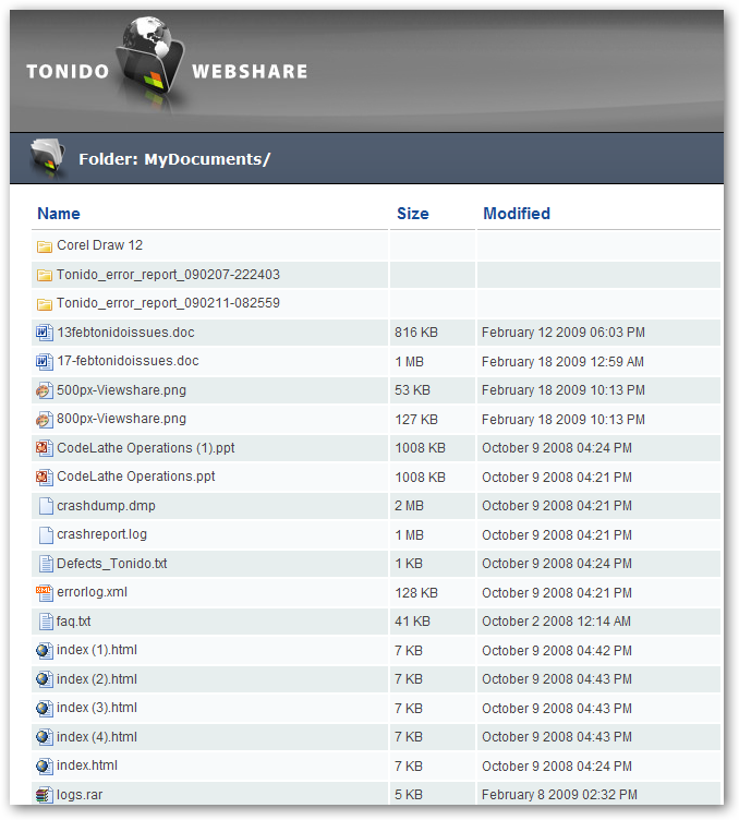 Tonido Webshare File View