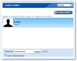 Tonido Install - Login Profile