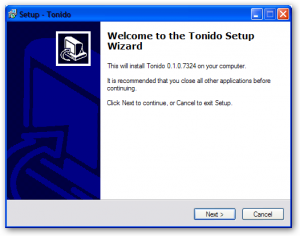 Welcome Screen - Tonido Install