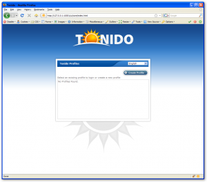 Tonido Installation - Select Profile (Empty)