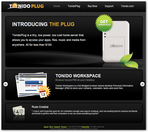 The New TonidoPlug.com Site