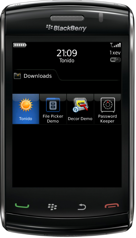 Launch Tonido in Blackberry