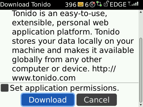 Install Tonido on Blackberry