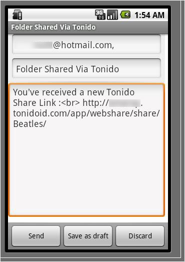 Share a file or folder and send the share via email instantly